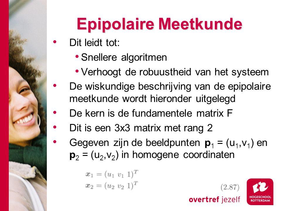 # Dit leidt tot: Snellere algoritmen Verhoogt de robuustheid van het systeem De wiskundige beschrijving van de epipolaire meetkunde wordt hieronder ui