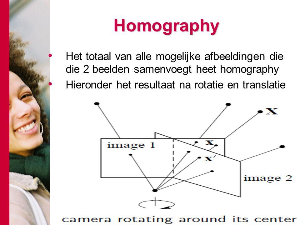 # Homography Het totaal van alle mogelijke afbeeldingen die die 2 beelden samenvoegt heet homography Hieronder het resultaat na rotatie en translatie