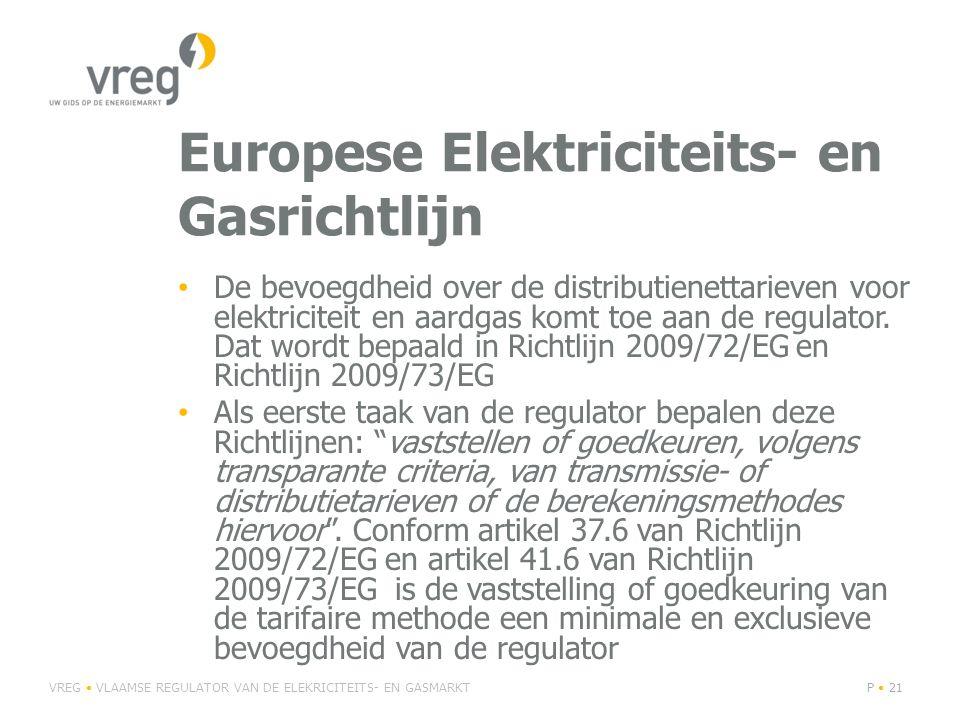 Europese Elektriciteits- en Gasrichtlijn De bevoegdheid over de distributienettarieven voor elektriciteit en aardgas komt toe aan de regulator.