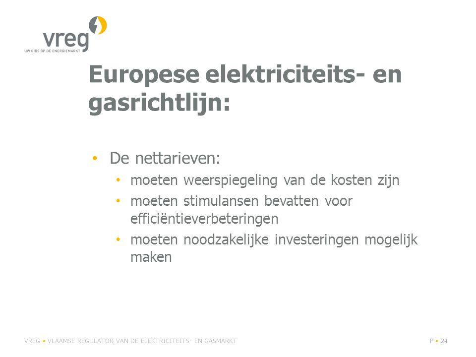 Europese elektriciteits- en gasrichtlijn: De nettarieven: moeten weerspiegeling van de kosten zijn moeten stimulansen bevatten voor efficiëntieverbeteringen moeten noodzakelijke investeringen mogelijk maken VREG VLAAMSE REGULATOR VAN DE ELEKTRICITEITS- EN GASMARKTP 24