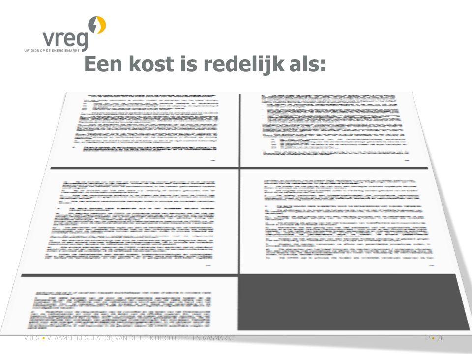 Aanpak VREG Onderscheid tussen exogene en niet-exogene kosten Niet-exogene kosten kosten die beïnvloedbaar zijn en waarop een netbeheerder impact heeft bijvoorbeeld door efficiënter te werken via inkomstenregulering Exogene kosten kosten waar netbeheerder geen impact op heeft niet beïnvloedbaar door efficiëntie van de netbeheerder worden volledig doorgerekend op basis van budget en saldi via cost plus VREG VLAAMSE REGULATOR VAN DE ELEKTRICITEITS- EN GASMARKTP 29
