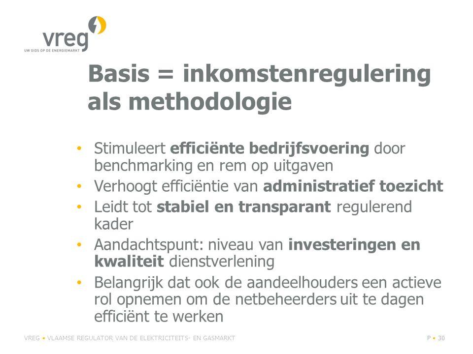 Basis = inkomstenregulering als methodologie VREG VLAAMSE REGULATOR VAN DE ELEKTRICITEITS- EN GASMARKTP 30 Stimuleert efficiënte bedrijfsvoering door benchmarking en rem op uitgaven Verhoogt efficiëntie van administratief toezicht Leidt tot stabiel en transparant regulerend kader Aandachtspunt: niveau van investeringen en kwaliteit dienstverlening Belangrijk dat ook de aandeelhouders een actieve rol opnemen om de netbeheerders uit te dagen efficiënt te werken