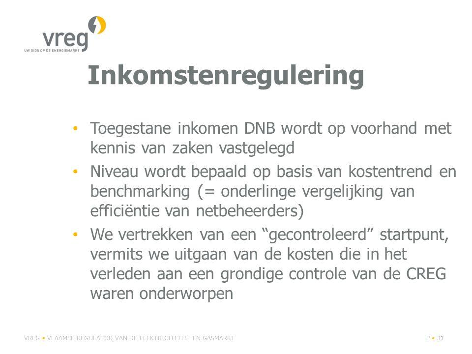 Inkomstenregulering Toegestane inkomen DNB wordt op voorhand met kennis van zaken vastgelegd Niveau wordt bepaald op basis van kostentrend en benchmarking (= onderlinge vergelijking van efficiëntie van netbeheerders) We vertrekken van een gecontroleerd startpunt, vermits we uitgaan van de kosten die in het verleden aan een grondige controle van de CREG waren onderworpen VREG VLAAMSE REGULATOR VAN DE ELEKTRICITEITS- EN GASMARKTP 31