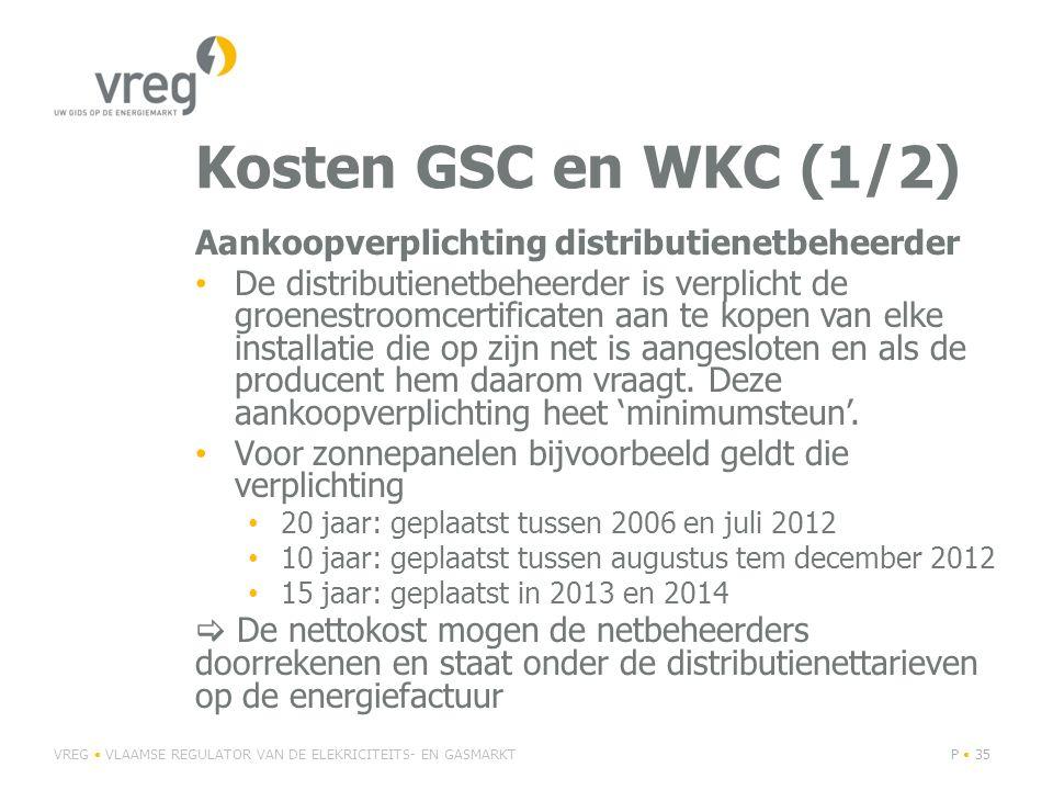 Kosten GSC en WKC (1/2) Aankoopverplichting distributienetbeheerder De distributienetbeheerder is verplicht de groenestroomcertificaten aan te kopen van elke installatie die op zijn net is aangesloten en als de producent hem daarom vraagt.