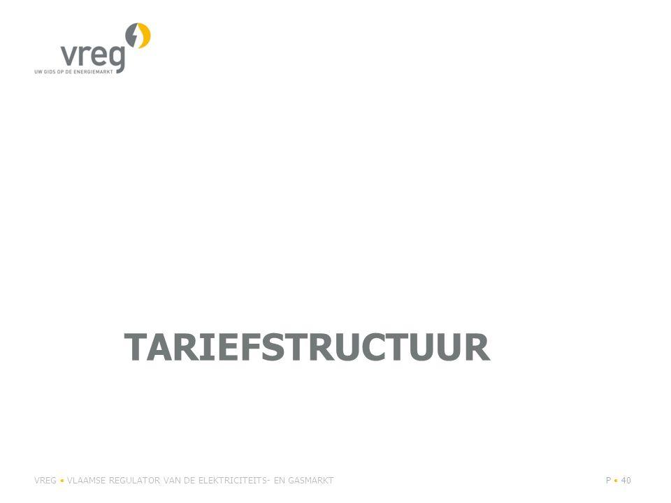 Niet-periodieke tarieven Voorbeeld: kost aansluiting, verzwaring aansluiting, studiekosten, … Aandeel in omzet 2013: elektriciteit: 5% aardgas: 6% Aanrekening op basis van kosten (~ kostenreflectiviteit) Tarieven 2015 op basis van indexering tarieven 2012 In 2015: harmonisering verhoging transparantie VREG VLAAMSE REGULATOR VAN DE ELEKTRICITEITS- EN GASMARKTP 41
