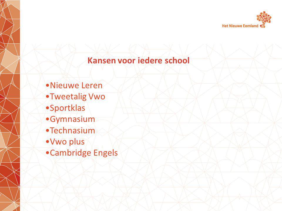 Kansen voor iedere school Nieuwe Leren Tweetalig Vwo Sportklas Gymnasium Technasium Vwo plus Cambridge Engels