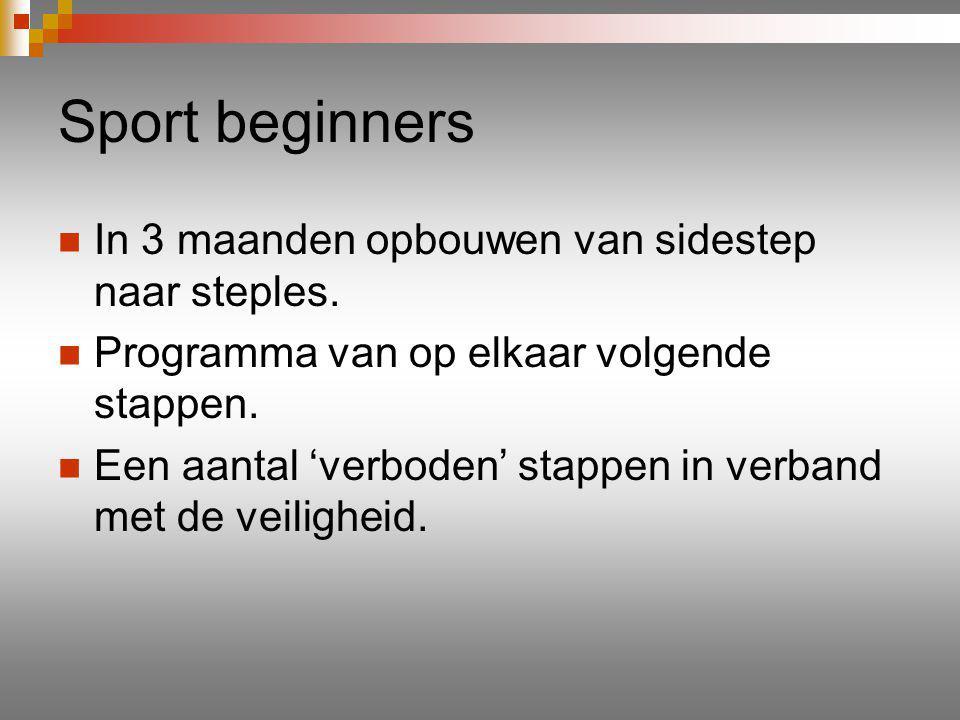 Sport beginners In 3 maanden opbouwen van sidestep naar steples.
