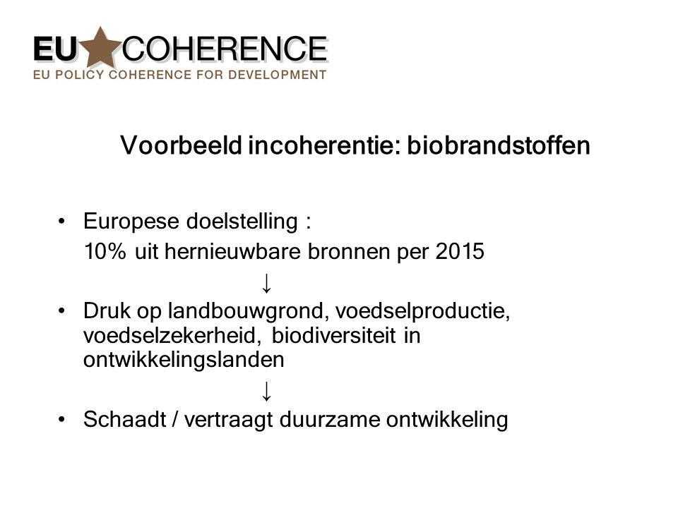 Voorbeeld incoherentie: biobrandstoffen Europese doelstelling : 10% uit hernieuwbare bronnen per 2015 ↓ Druk op landbouwgrond, voedselproductie, voedselzekerheid, biodiversiteit in ontwikkelingslanden ↓ Schaadt / vertraagt duurzame ontwikkeling