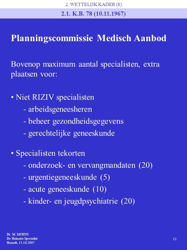 Dr. M. MOENS De Huisarts-Specialist Hasselt, 13.10.2007 12 2. WETTELIJK KADER (8) 2.1. K.B. 78 (10.11.1967) Planningscommissie Medisch Aanbod Bovenop