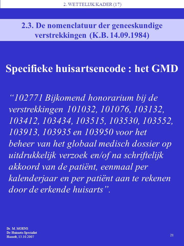 1 Dr. M. MOENS De Huisarts-Specialist Hasselt, 13.10.2007 2. WETTELIJK KADER (17) 21 2.3. De nomenclatuur der geneeskundige verstrekkingen (K.B. 14.09