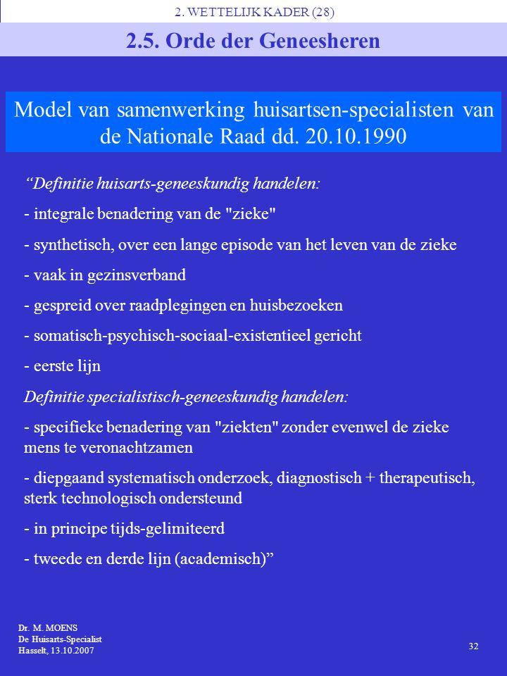 """2. WETTELIJK KADER (28) 2.5. Orde der Geneesheren """"Definitie huisarts-geneeskundig handelen: - integrale benadering van de"""