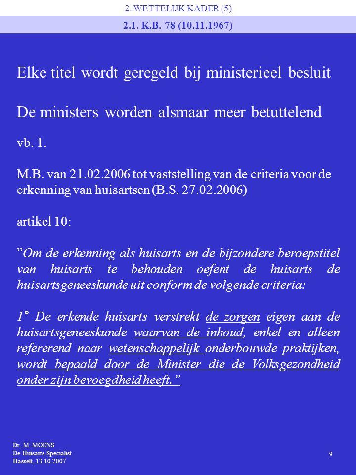Dr. M. MOENS De Huisarts-Specialist Hasselt, 13.10.2007 9 2. WETTELIJK KADER (5) 2.1. K.B. 78 (10.11.1967) Elke titel wordt geregeld bij ministerieel
