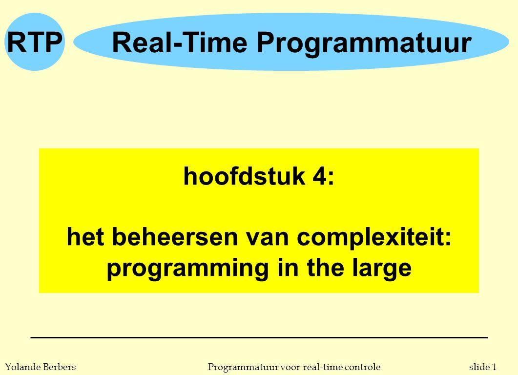 slide 1Programmatuur voor real-time controleYolande Berbers RTPReal-Time Programmatuur hoofdstuk 4: het beheersen van complexiteit: programming in the large