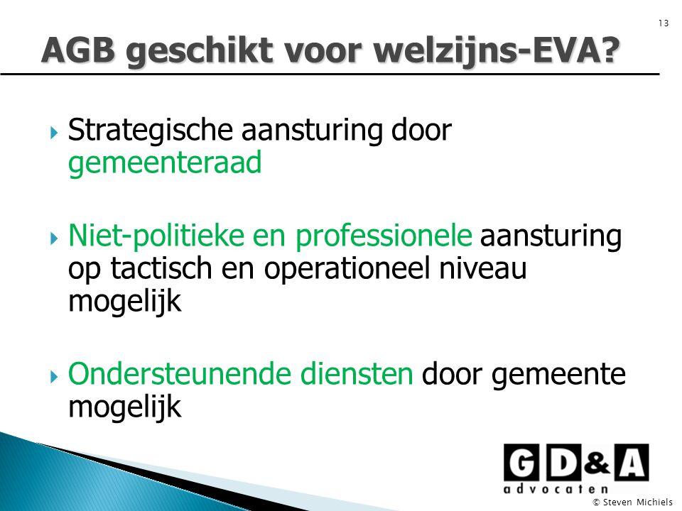  Strategische aansturing door gemeenteraad  Niet-politieke en professionele aansturing op tactisch en operationeel niveau mogelijk  Ondersteunende diensten door gemeente mogelijk AGB geschikt voor welzijns-EVA.