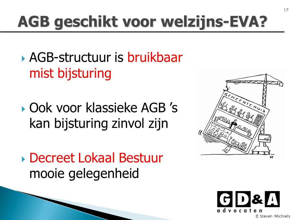  AGB-structuur is bruikbaar mist bijsturing  Ook voor klassieke AGB 's kan bijsturing zinvol zijn  Decreet Lokaal Bestuur mooie gelegenheid AGB geschikt voor welzijns-EVA.
