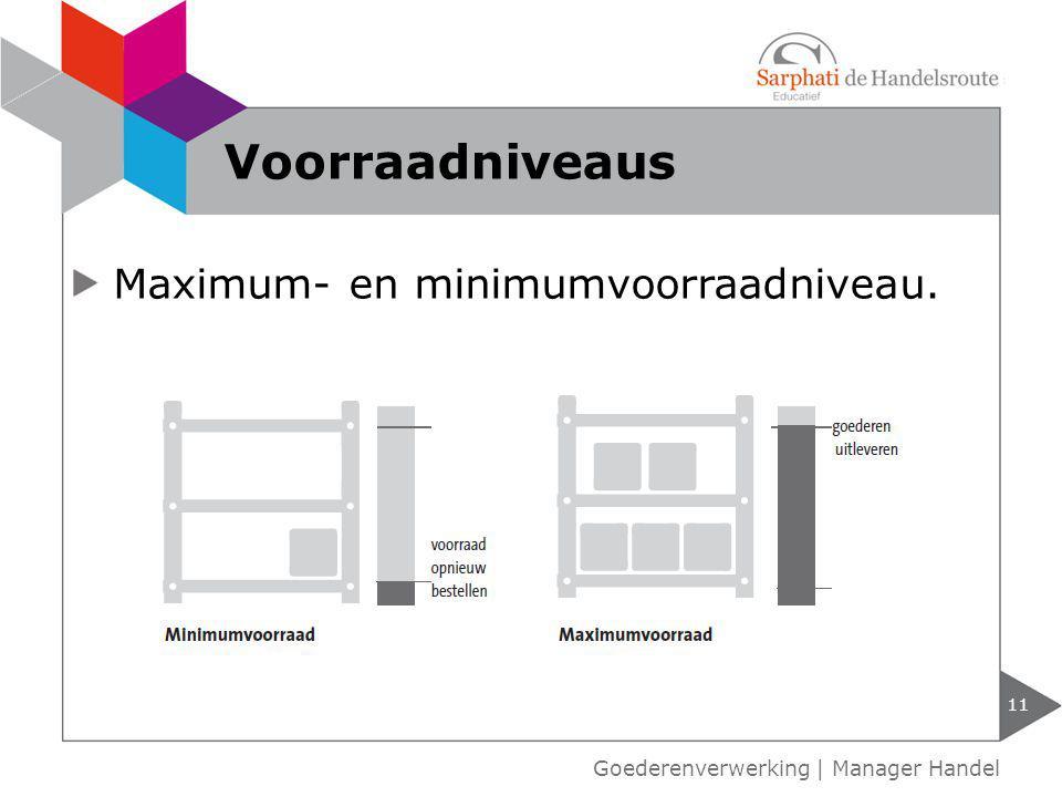Maximum- en minimumvoorraadniveau. 11 Voorraadniveaus Goederenverwerking | Manager Handel
