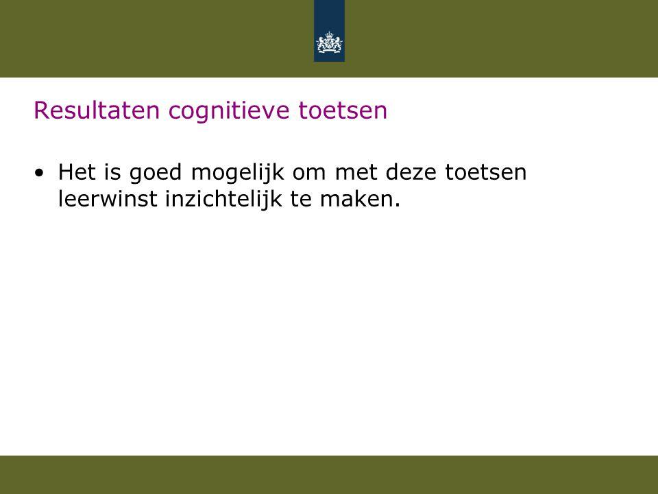 Resultaten cognitieve toetsen Het is goed mogelijk om met deze toetsen leerwinst inzichtelijk te maken.