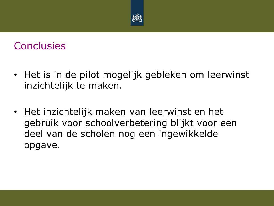 Conclusies Het is in de pilot mogelijk gebleken om leerwinst inzichtelijk te maken. Het inzichtelijk maken van leerwinst en het gebruik voor schoolver
