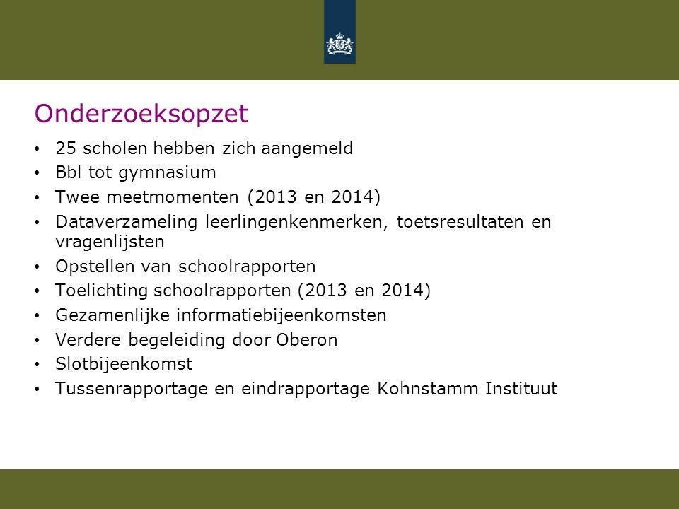 Onderzoeksopzet 25 scholen hebben zich aangemeld Bbl tot gymnasium Twee meetmomenten (2013 en 2014) Dataverzameling leerlingenkenmerken, toetsresultat