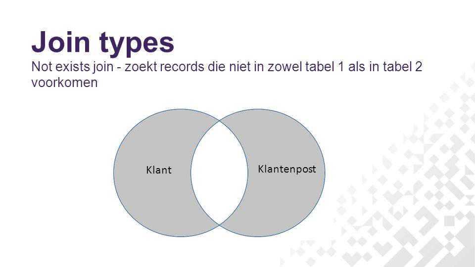 Join types Not exists join - zoekt records die niet in zowel tabel 1 als in tabel 2 voorkomen Klant Klantenpost