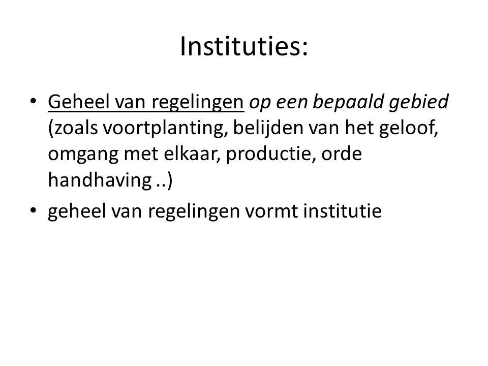 Instituties: Geheel van regelingen op een bepaald gebied (zoals voortplanting, belijden van het geloof, omgang met elkaar, productie, orde handhaving.
