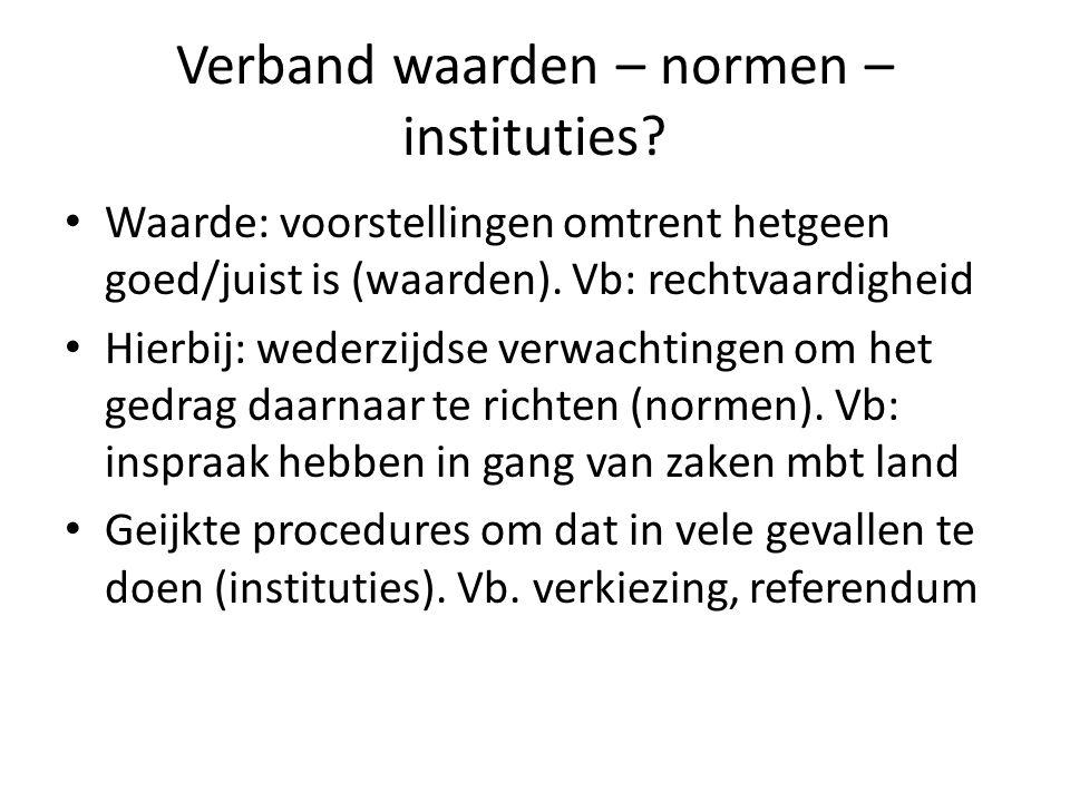 Verband waarden – normen – instituties? Waarde: voorstellingen omtrent hetgeen goed/juist is (waarden). Vb: rechtvaardigheid Hierbij: wederzijdse verw