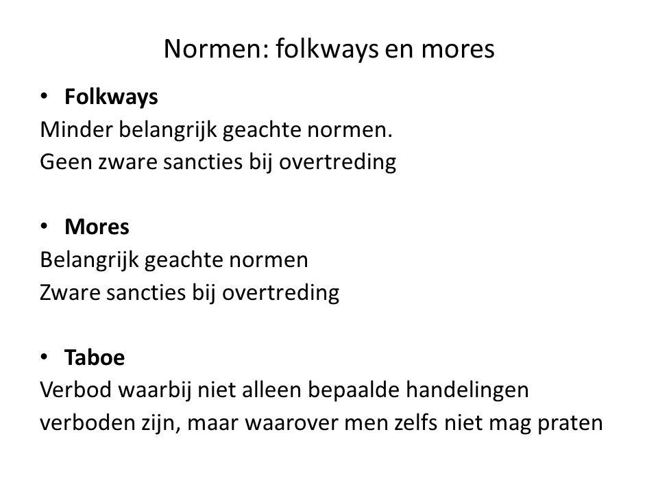 Normen: folkways en mores Folkways Minder belangrijk geachte normen. Geen zware sancties bij overtreding Mores Belangrijk geachte normen Zware sanctie