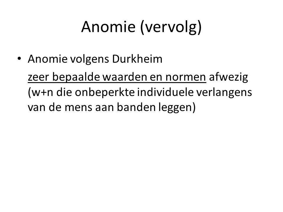Anomie (vervolg) Anomie volgens Durkheim zeer bepaalde waarden en normen afwezig (w+n die onbeperkte individuele verlangens van de mens aan banden leg