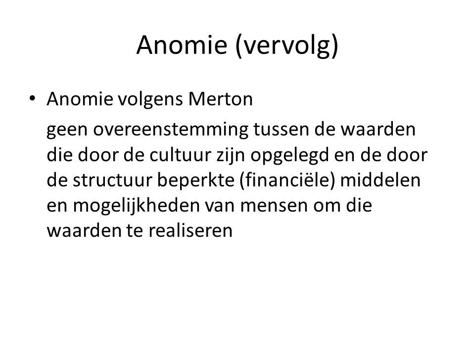 Anomie (vervolg) Anomie volgens Merton geen overeenstemming tussen de waarden die door de cultuur zijn opgelegd en de door de structuur beperkte (fina