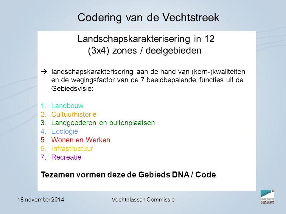 18 november 2014Vechtplassen Commissie Landschapskarakterisering in 12 (3x4) zones / deelgebieden  landschapskarakterisering aan de hand van (kern-)kwaliteiten en de wegingsfactor van de 7 beeldbepalende functies uit de Gebiedsvisie: 1.Landbouw 2.Cultuurhistorie 3.Landgoederen en buitenplaatsen 4.Ecologie 5.Wonen en Werken 6.Infrastructuur 7.Recreatie Tezamen vormen deze de Gebieds DNA / Code Codering van de Vechtstreek