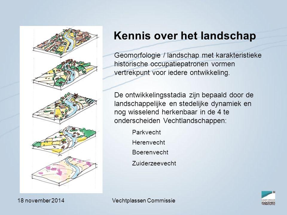 18 november 2014Vechtplassen Commissie Geomorfologie / landschap met karakteristieke historische occupatiepatronen vormen vertrekpunt voor iedere ontw