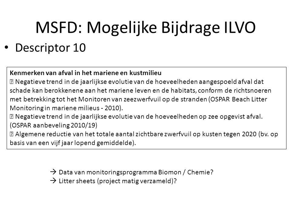 MSFD: Mogelijke Bijdrage ILVO Kenmerken van afval in het mariene en kustmilieu  Negatieve trend in de jaarlijkse evolutie van de hoeveelheden aangespoeld afval dat schade kan berokkenene aan het mariene leven en de habitats, conform de richtsnoeren met betrekking tot het Monitoren van zeezwerfvuil op de stranden (OSPAR Beach Litter Monitoring in mariene milieus - 2010).