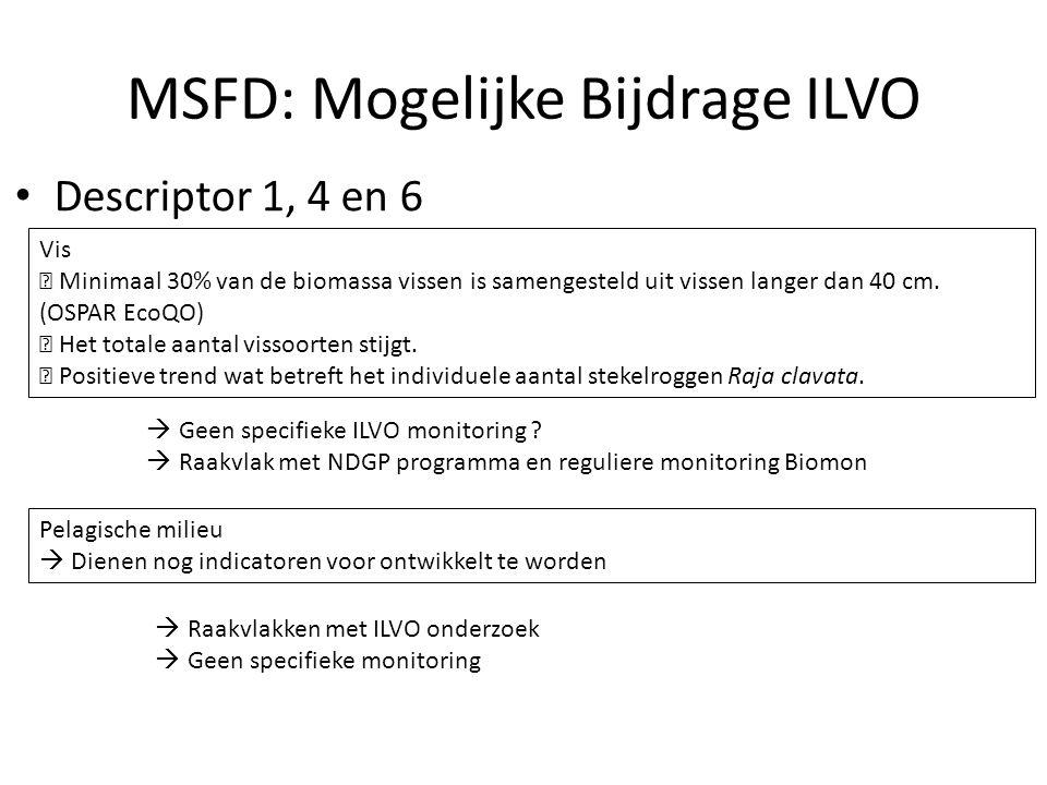 MSFD: Mogelijke Bijdrage ILVO Descriptor 1, 4 en 6 Vis  Minimaal 30% van de biomassa vissen is samengesteld uit vissen langer dan 40 cm. (OSPAR EcoQO