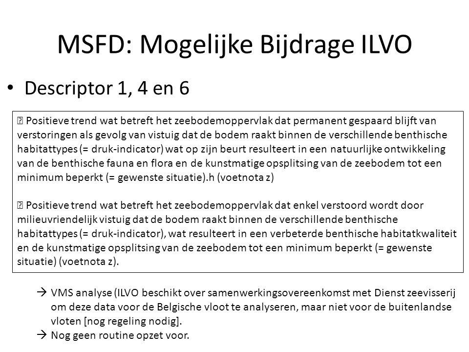 MSFD: Mogelijke Bijdrage ILVO Descriptor 1, 4 en 6  Positieve trend wat betreft het zeebodemoppervlak dat permanent gespaard blijft van verstoringen
