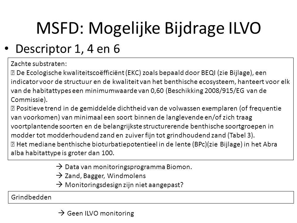 MSFD: Mogelijke Bijdrage ILVO Descriptor 1, 4 en 6 Zachte substraten:  De Ecologische kwaliteitscoëfficiënt (EKC) zoals bepaald door BEQI (zie Bijlage), een indicator voor de structuur en de kwaliteit van het benthische ecosysteem, hanteert voor elk van de habitattypes een minimumwaarde van 0,60 (Beschikking 2008/915/EG van de Commissie).