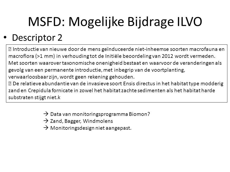 MSFD: Mogelijke Bijdrage ILVO Descriptor 2  Introductie van nieuwe door de mens geïnduceerde niet-inheemse soorten macrofauna en macroflora (>1 mm) in verhouding tot de Initiële beoordeling van 2012 wordt vermeden.