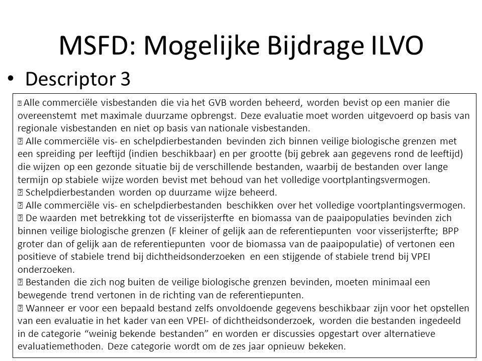 MSFD: Mogelijke Bijdrage ILVO Descriptor 3  Alle commerciële visbestanden die via het GVB worden beheerd, worden bevist op een manier die overeenstemt met maximale duurzame opbrengst.