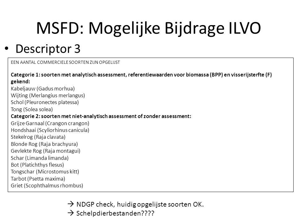 MSFD: Mogelijke Bijdrage ILVO Descriptor 3 EEN AANTAL COMMERCIELE SOORTEN ZIJN OPGELIJST Categorie 1: soorten met analytisch assessment, referentiewaarden voor biomassa (BPP) en visserijsterfte (F) gekend: Kabeljauw (Gadus morhua) Wijting (Merlangius merlangus) Schol (Pleuronectes platessa) Tong (Solea solea) Categorie 2: soorten met niet-analytisch assessment of zonder assessment: Grijze Garnaal (Crangon crangon) Hondshaai (Scyliorhinus canicula) Stekelrog (Raja clavata) Blonde Rog (Raja brachyura) Gevlekte Rog (Raja montagui) Schar (Limanda limanda) Bot (Platichthys flesus) Tongschar (Microstomus kitt) Tarbot (Psetta maxima) Griet (Scophthalmus rhombus)  NDGP check, huidig opgelijste soorten OK.