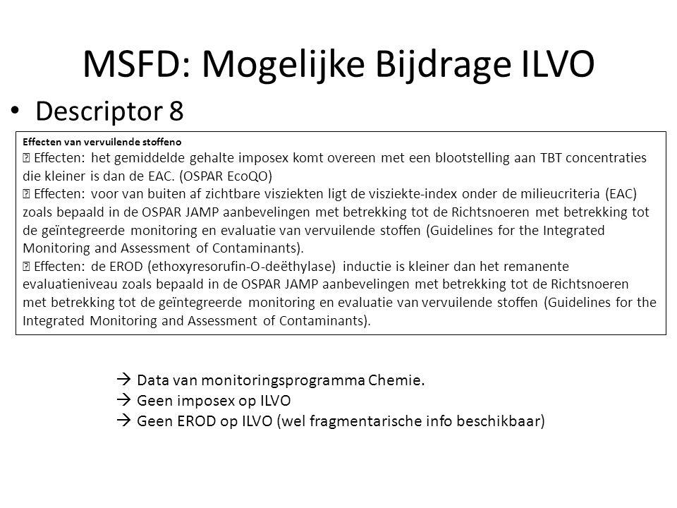 MSFD: Mogelijke Bijdrage ILVO Effecten van vervuilende stoffeno  Effecten: het gemiddelde gehalte imposex komt overeen met een blootstelling aan TBT concentraties die kleiner is dan de EAC.