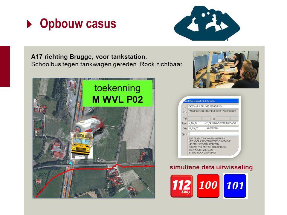 Opbouw casus A17 richting Brugge, voor tankstation. Schoolbus tegen tankwagen gereden. Rook zichtbaar. simultane data uitwisseling toekenning M WVL P0