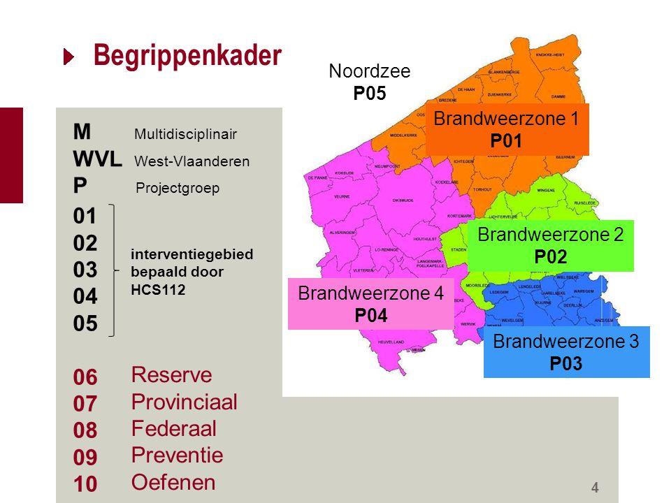 Begrippenkader 4 M Multidisciplinair WVL West-Vlaanderen P Projectgroep Brandweerzone 1 P01 Brandweerzone 2 P02 Brandweerzone 3 P03 Brandweerzone 4 P0