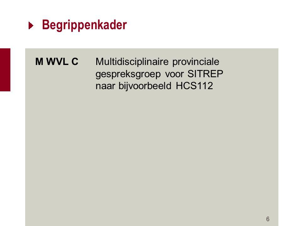 Begrippenkader 6 M WVL CMultidisciplinaire provinciale gespreksgroep voor SITREP naar bijvoorbeeld HCS112 WVL RAMP Monodisciplinaire gespreksgroep med