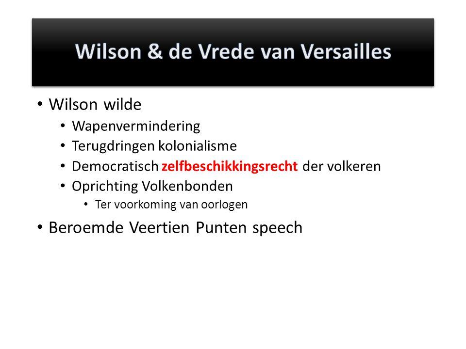 Wilson wilde Wapenvermindering Terugdringen kolonialisme Democratisch zelfbeschikkingsrecht der volkeren Oprichting Volkenbonden Ter voorkoming van oo