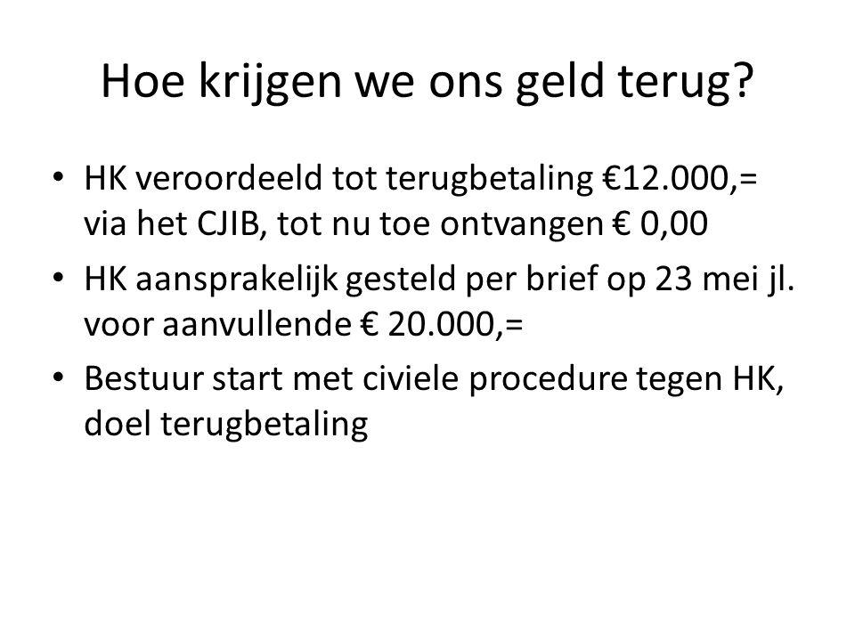 Hoe krijgen we ons geld terug? HK veroordeeld tot terugbetaling €12.000,= via het CJIB, tot nu toe ontvangen € 0,00 HK aansprakelijk gesteld per brief