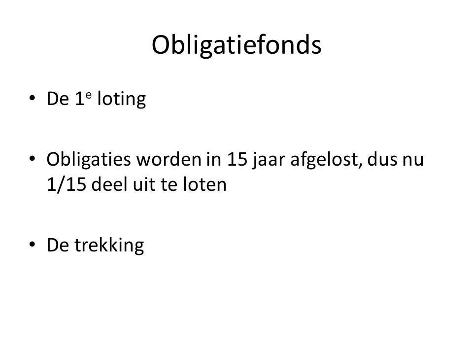 Obligatiefonds De 1 e loting Obligaties worden in 15 jaar afgelost, dus nu 1/15 deel uit te loten De trekking