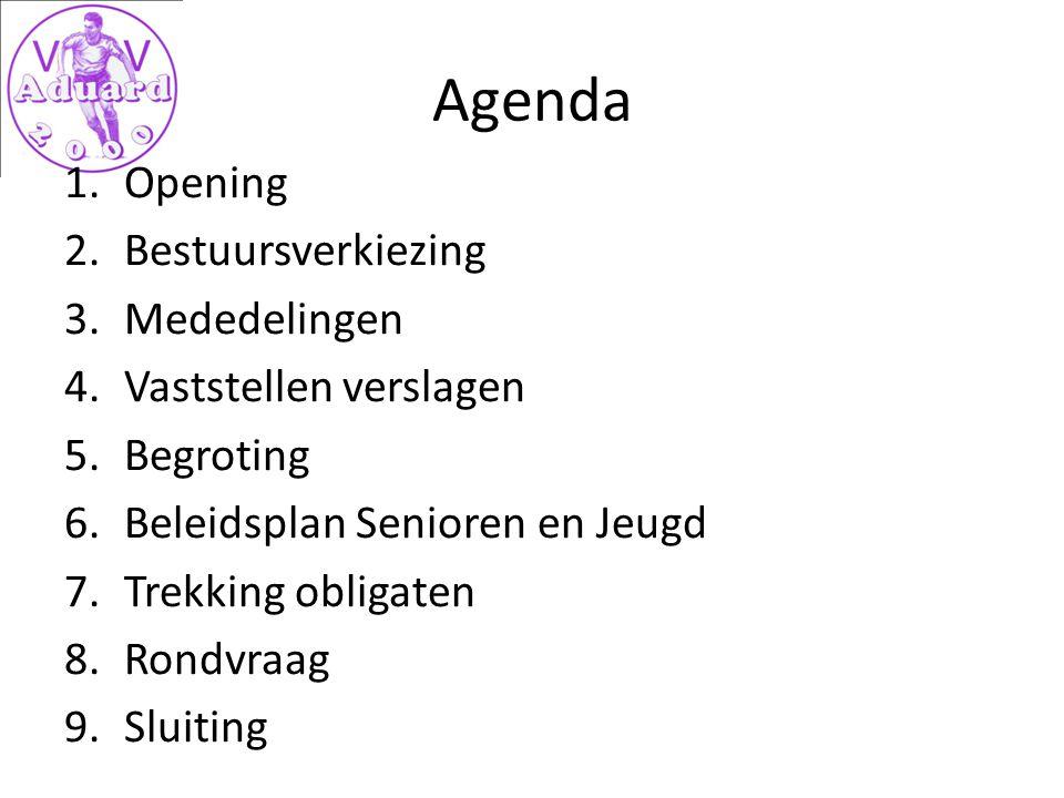 Agenda 1.Opening 2.Bestuursverkiezing 3.Mededelingen 4.Vaststellen verslagen 5.Begroting 6.Beleidsplan Senioren en Jeugd 7.Trekking obligaten 8.Rondvraag 9.Sluiting