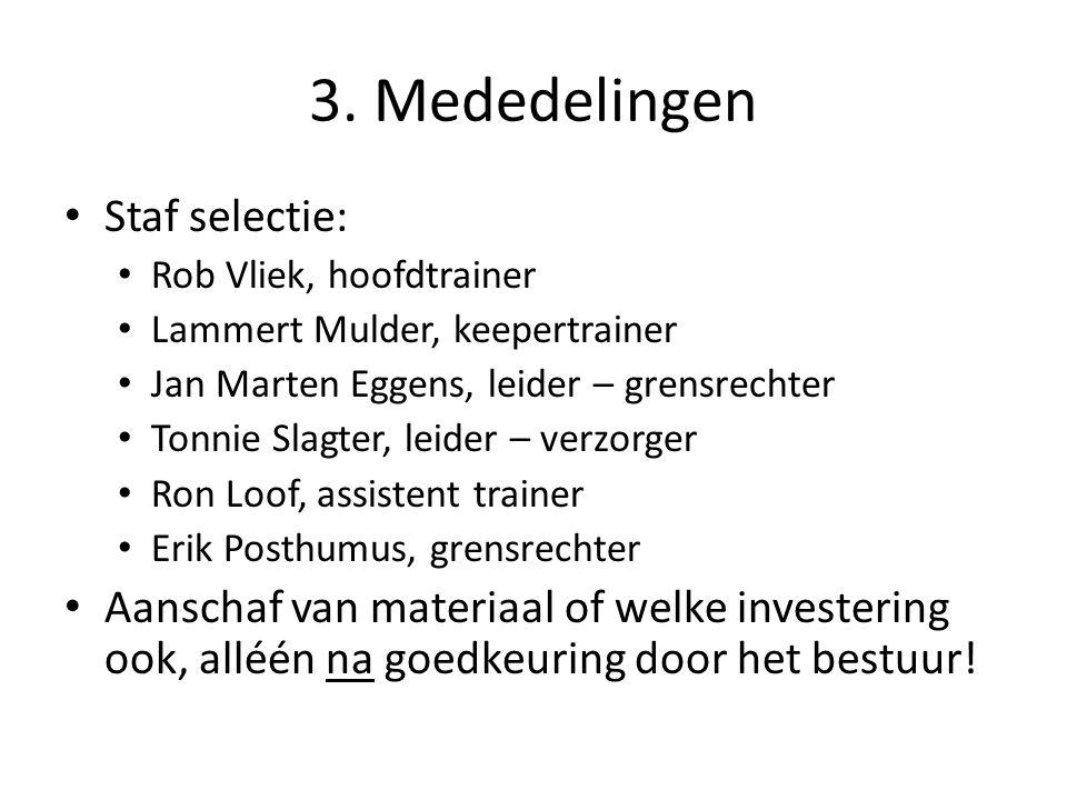 3. Mededelingen Staf selectie: Rob Vliek, hoofdtrainer Lammert Mulder, keepertrainer Jan Marten Eggens, leider – grensrechter Tonnie Slagter, leider –