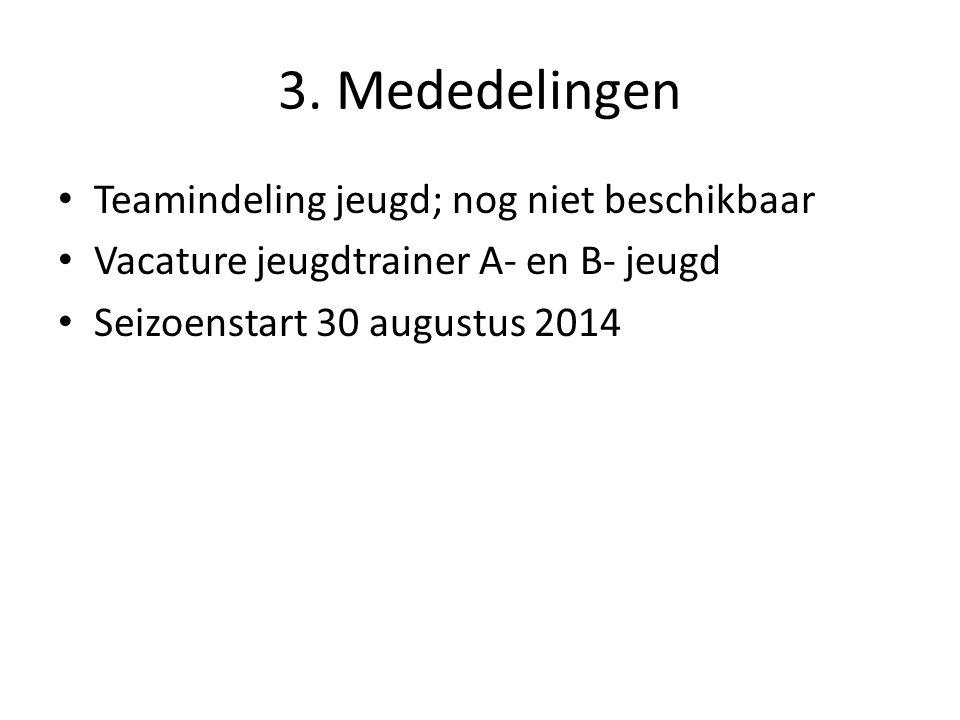 3. Mededelingen Teamindeling jeugd; nog niet beschikbaar Vacature jeugdtrainer A- en B- jeugd Seizoenstart 30 augustus 2014
