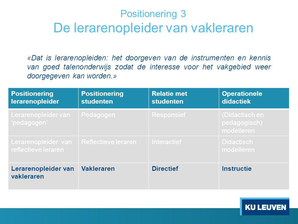 Positionering 3 De lerarenopleider van vakleraren Positionering lerarenopleider Positionering studenten Relatie met studenten Operationele didactiek L