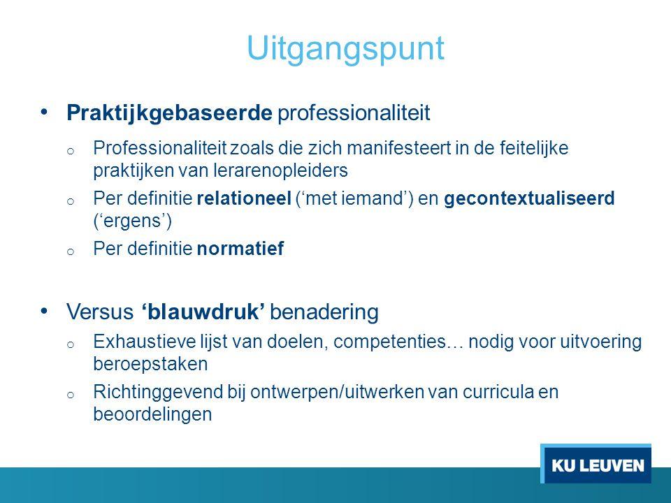 Uitgangspunt Praktijkgebaseerde professionaliteit o Professionaliteit zoals die zich manifesteert in de feitelijke praktijken van lerarenopleiders o P